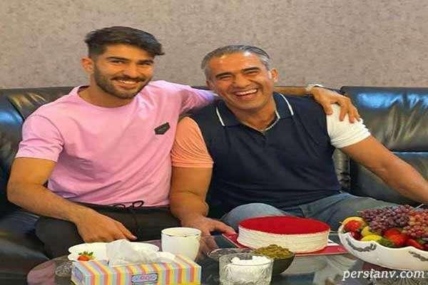 جشن تولد ۵۵ سالگی احمدرضا عابدزاده با کیک به رنگ قرمز