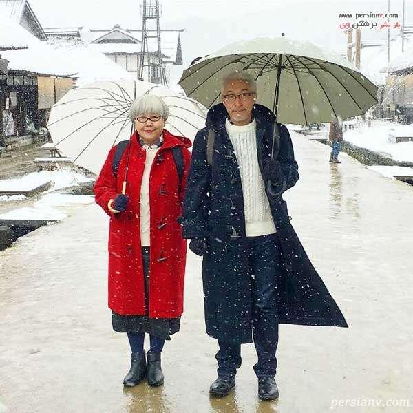 ست لباس زوج ژاپنی در روز برفی