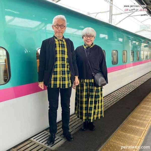 ست سرمه ای و زرد زوج ژاپنی