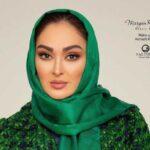 استایل جدید الهام حمیدی با ست مشکی در تبلیغات یک فرش ایرانی