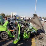 تصادف 4 خودرو در بزرگراه تهران , قم فاجعه آفرید