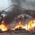 مرگ جوان ۲۰ ساله بر اثر آتشسوزی چادر زلزلهزدگان