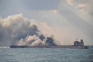 انفجار در نفتکش ایرانی در دریای چین!!