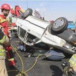 تصاویری از واژگونی خونین پراید پس از تصادف با خودروی L۹۰