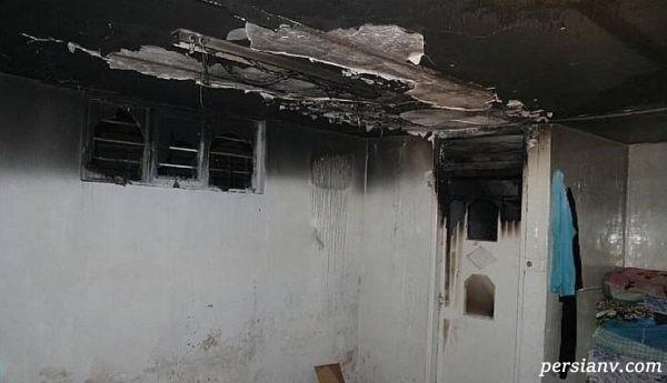 پرتاب کردن دختر بچه از پنجره به بیرون به دلیل آتش سوزی ساختمان مسکونی