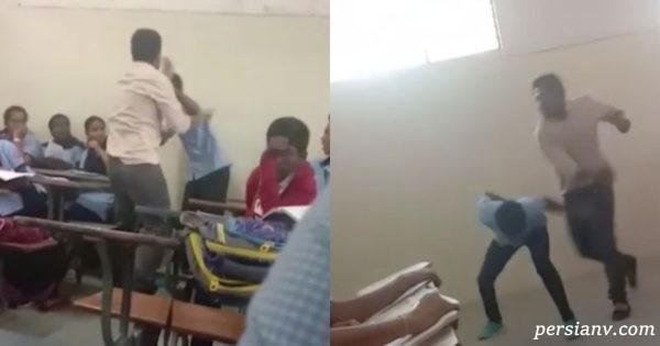 تنبیه کودک شیطون در مدرسه توسط معلم عصبانی اش