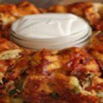 حلقه نان سیر و مرغ با سس آلفردو بسیار خوشمزه