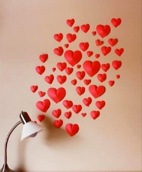 آموزش درست کردن قلب دیواری با کاغذ رنگی + تصاویر