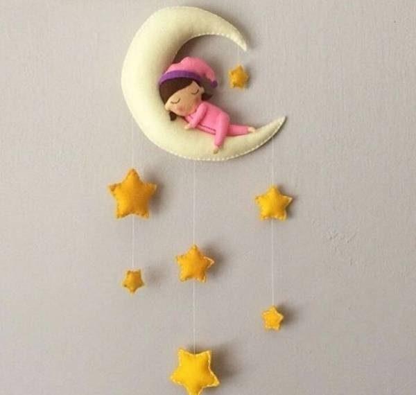 آموزش درست کردن آویز نمدی به شکل ماه و ستاره + تصاویر
