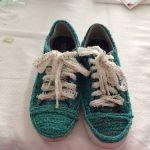 تزئین کفش آموزش تزئین کفش ساده با کاموا