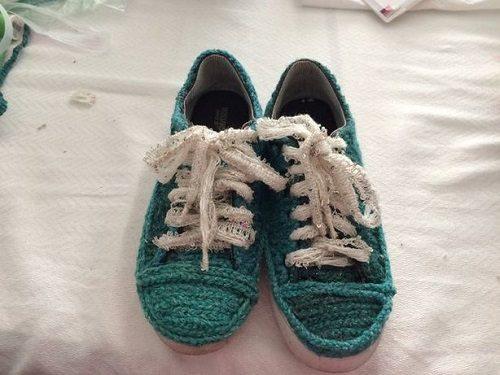 تزئین کفش|آموزش تزئین کفش ساده با کاموا