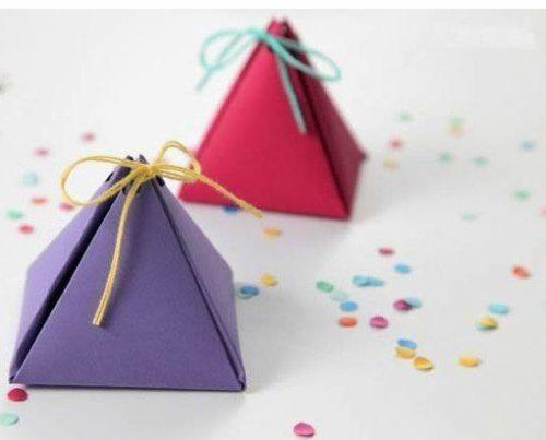 آموزش درست کردن جعبه کادوی هرمی با کاغذ رنگی +تصاویر