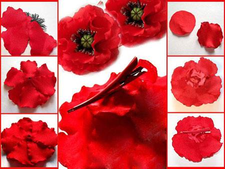 آموزش درست کردن گل شقایق با پارچه +تصاویر