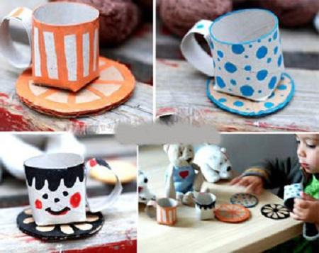 با رول دستمال کاغذی فنجان های زیبا درست کنید +تصاویر