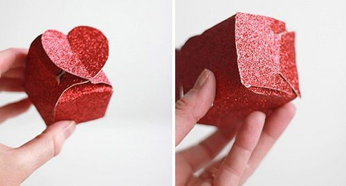 آموزش درست کردن جعبه کادو با در قلبی شکل با مقوا+تصاویر