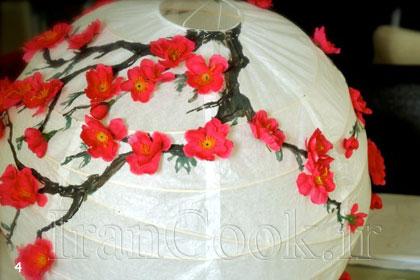تزئین کردن لوستر کاغذی با شکوفه +تصاویر