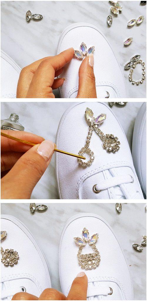 تزئین کفش کتانی |با نگین به کتانی ساده جلوه ای زیبا ببخشید