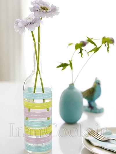 تزئین زیبای گلدان با روبان های رنگی +تصاویر