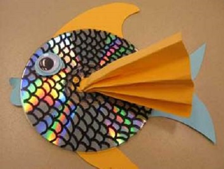 با سی دی سوخته برای بچه ها ماهی درست کنید +تصاویر