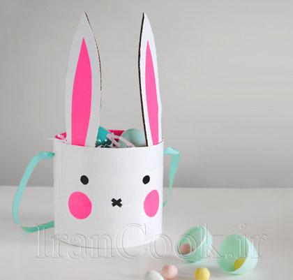 با مقوا لیوانی فانتزی به شکل خرگوش بسازید +تصاویر