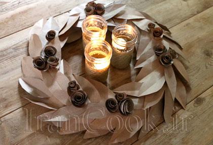 آموزش درست کردن حلقه گل رومیزی با مقوا +تصاویر