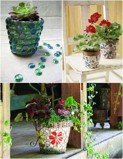 تزیین گلدان با سنگ های کوچک +تصاویر