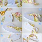 تزئین دمپایی با نوار پارچه ای به شیوه ای ساده