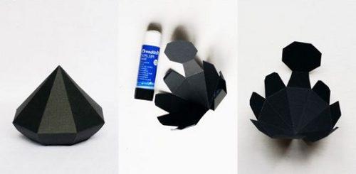 ساخت الماس مقوایی با مقوای سیاه الماس تزئینی درست کنید