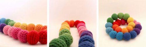 گردنبند رنگین کمانی با قلاب بافی +تصاویر