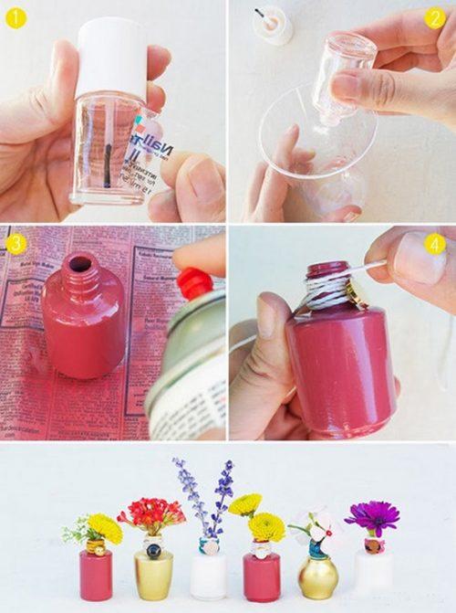 آموزش درست کردن گلدان کوچک با شیشه لاک +تصاویر