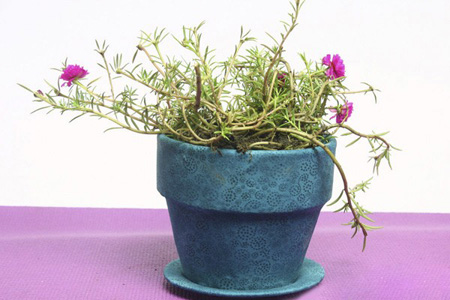 آموزش تزئین گلدان سفالی با پارچه +تصاویر