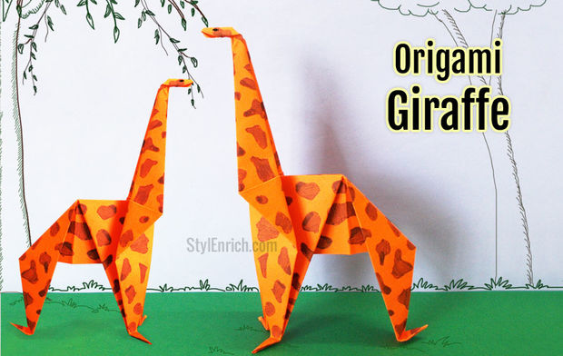 درست کردن اوریگامی زرافه