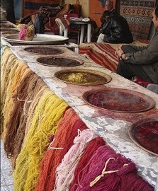 رنگ آمیزی خامه ی فرش ترکمن