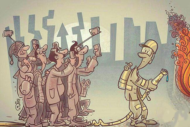 کاریکاتور حادثه پلاسکو