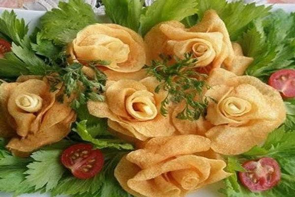 آموزش تزیین سیب زمینی به شکل گل رز
