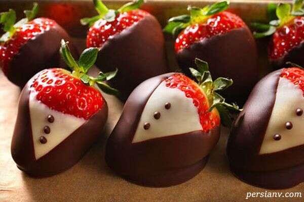 تزیین توت فرنگی با شکلات