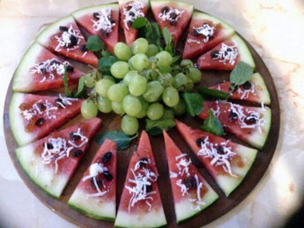 تزیین هندوانه به شکل پیتزا