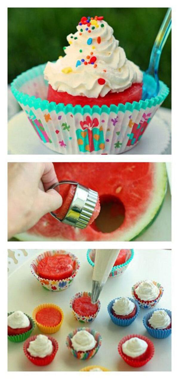 تزیین کاپ کیک هندوانه ای