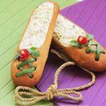 تزئین سالاد الویه به شکل کفش دخترانه