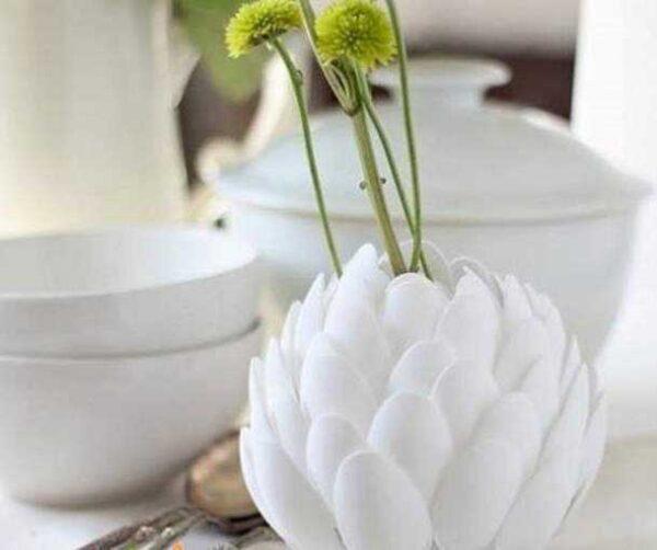 آموزش ساخت گلدان بسیار زیبا با قاشق یکبار مصرف