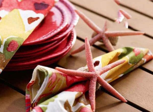 ساخت حلقه دستمال با ستاره های دریایی + تصاویر