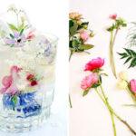 تزیین یخ با گل و میوه های تابستانی