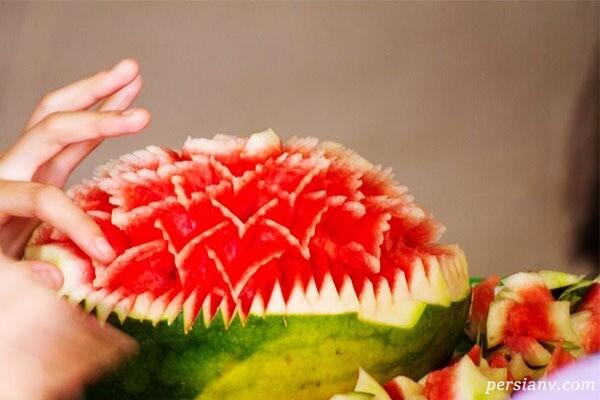 آموزش درست کردن گلدان هندوانه ای برای شب یلدا