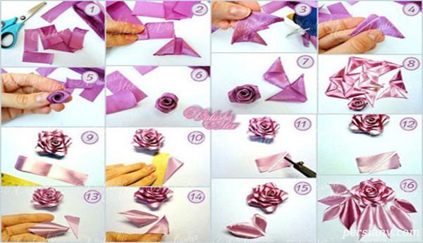 آموزش درست کردن سه نوع گل با روبان +تصاویر
