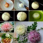 آموزش تزئین پیاز به شکل گل داوودی + عکس