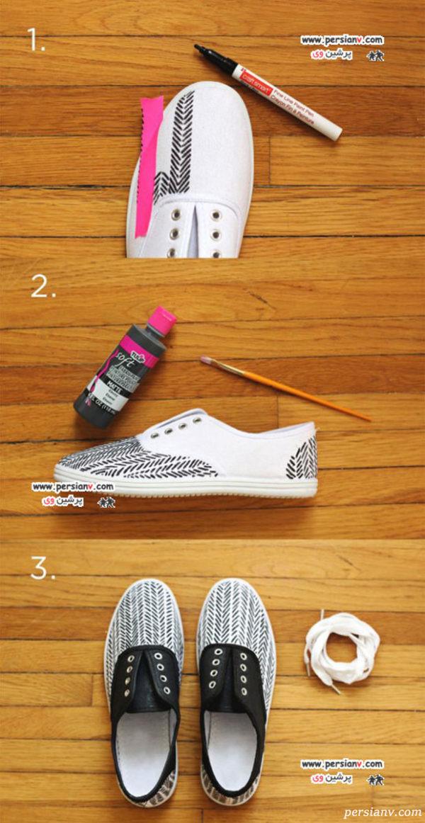 تزیین کفش اسپرت کهنه