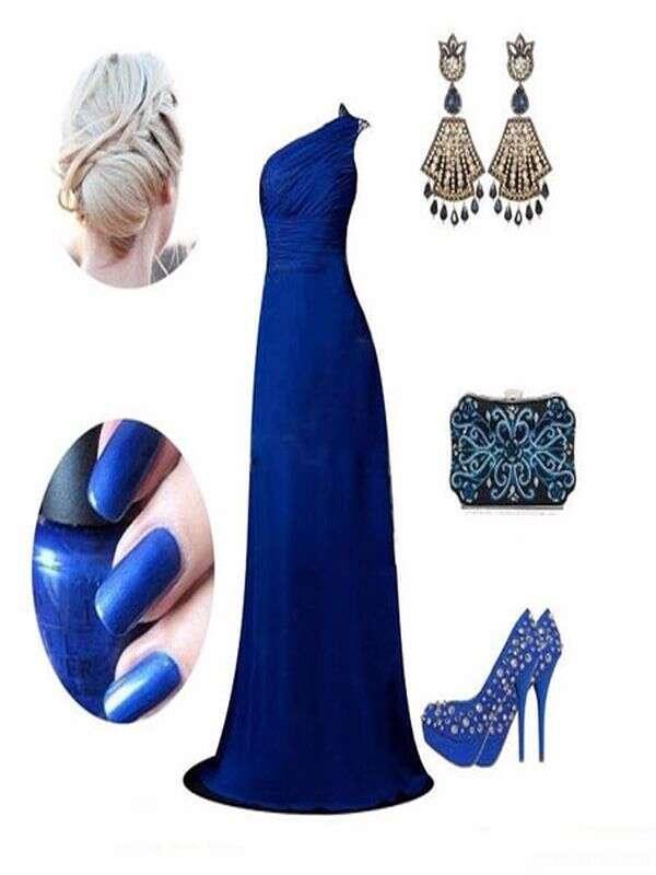 ست کردن کفش مجلسی با لباس مجلسی آبی