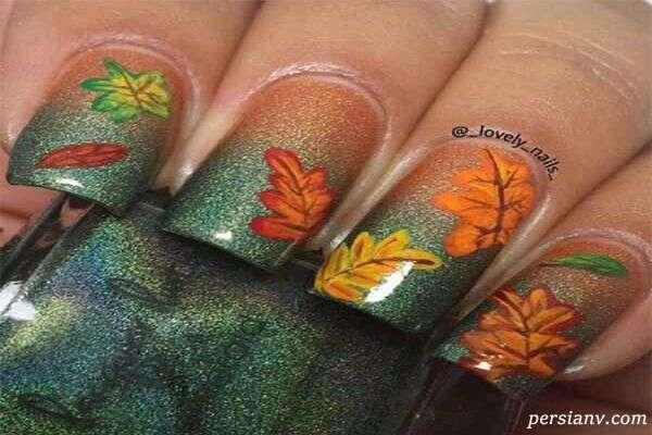 طرح ناخن برای پاییز