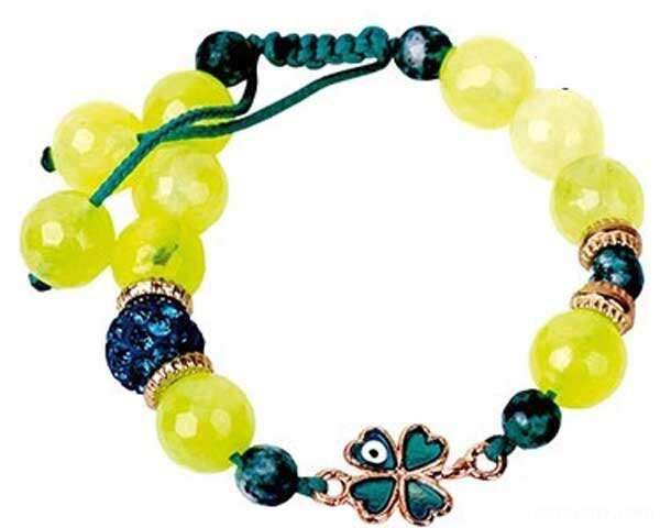 دستبند با سنگ های رنگی
