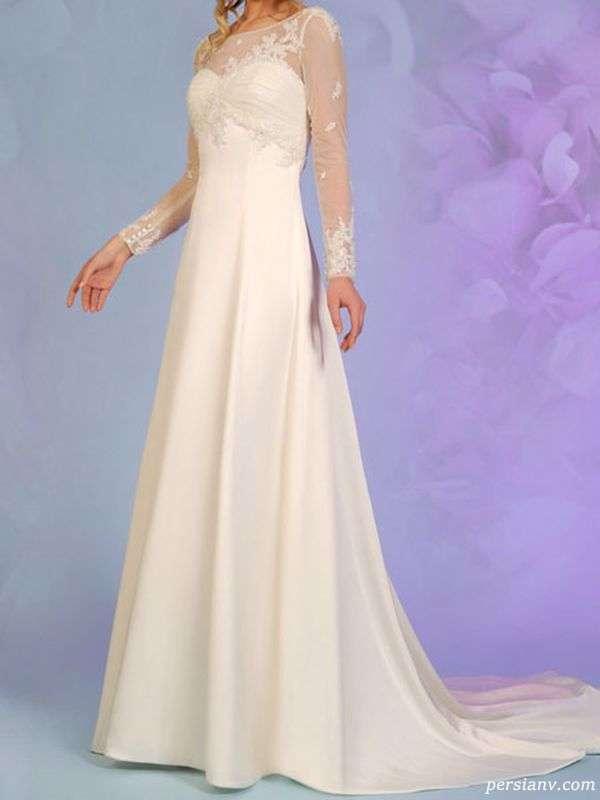 لباس عروس آستین دار توری